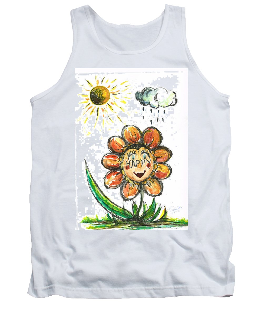 Teresa White Tank Top featuring the painting Happy Flower by Teresa White