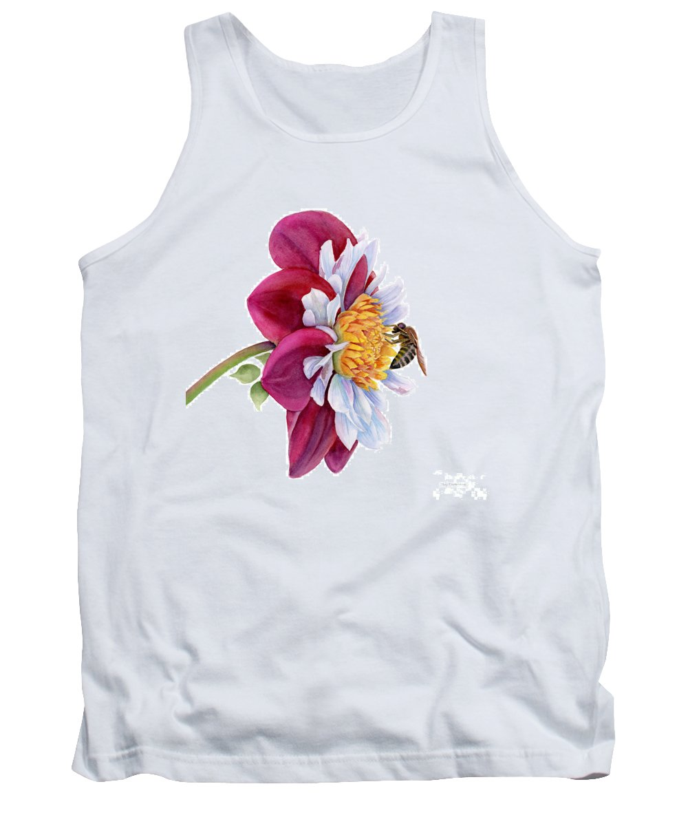 Pink Dahlia Tank Top featuring the painting Hello My Flower by Amy Kirkpatrick