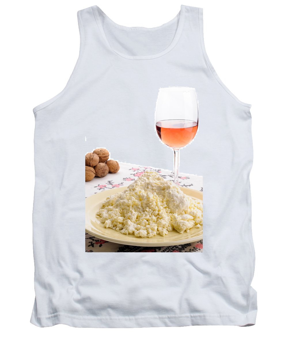 Cooking Tank Top featuring the photograph Homemade Cheese Wine And Walnuts by Alain De Maximy