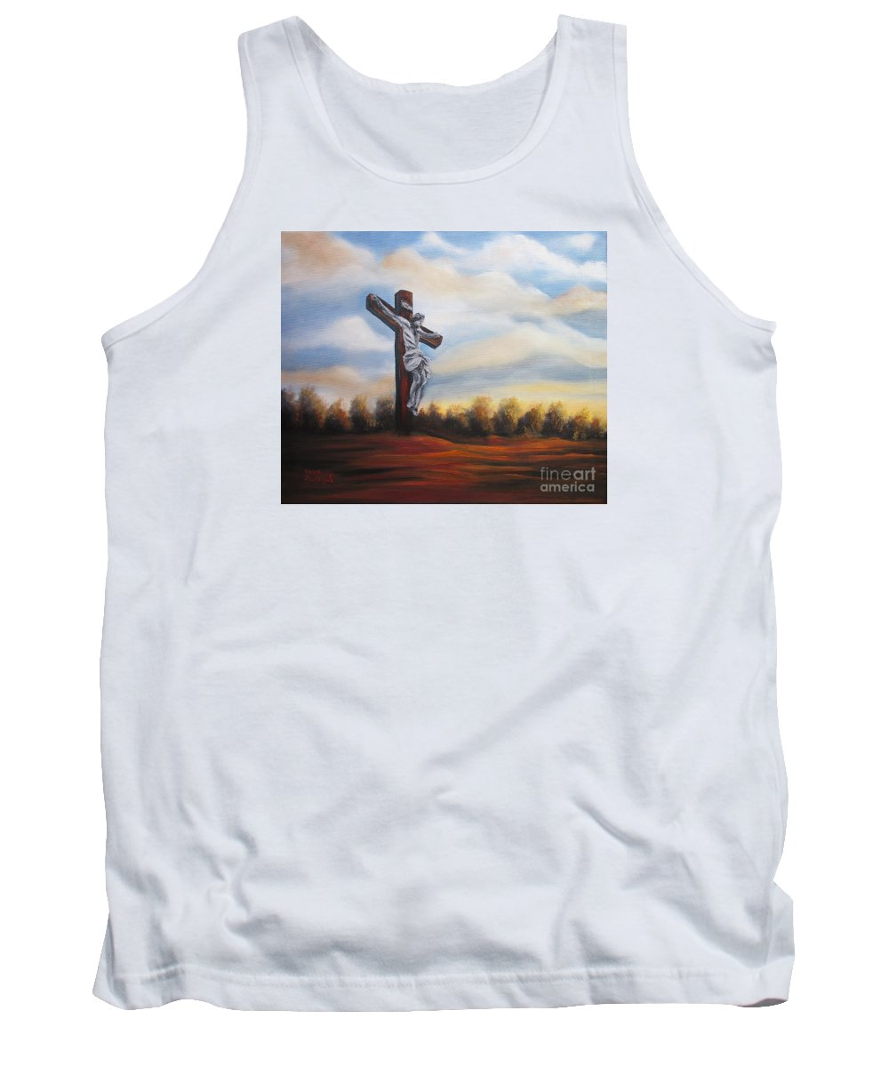 Jesus Tank Top featuring the painting I Am Always With You by Vesna Martinjak