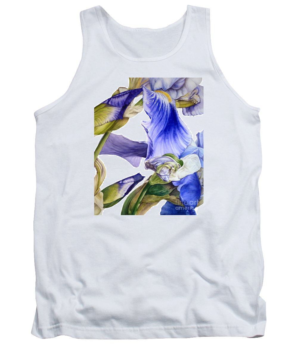 Iris Tank Top featuring the painting Iris II by Marie Burke