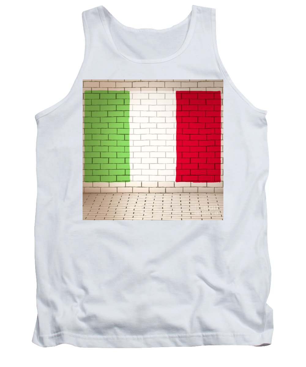 Flag Tank Top featuring the photograph Italy Flag Brick Wall Background by Jorgo Photography - Wall Art Gallery