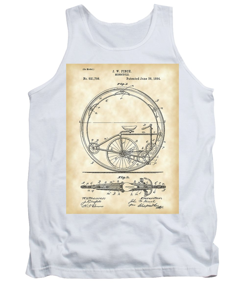 Monocycle Tank Top featuring the digital art Monocycle Patent 1894 - Vintage by Stephen Younts