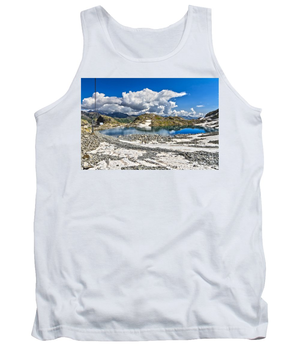 Alpine Tank Top featuring the photograph Monticello Lake - Tonale Pass by Antonio Scarpi