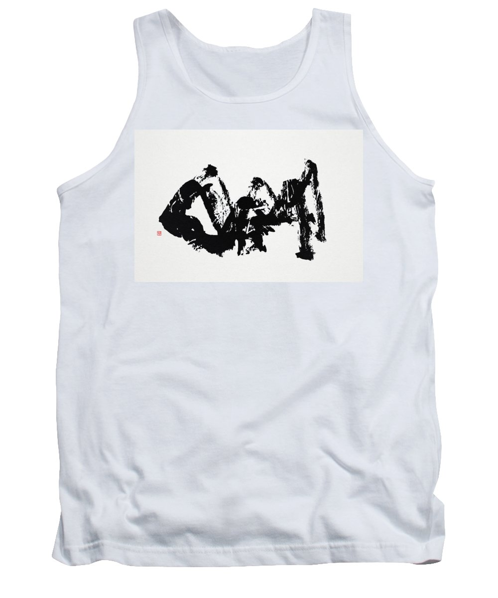 Mountain Tank Top featuring the painting Mountain Avant-garde Calligraphy by Ponte Ryuurui