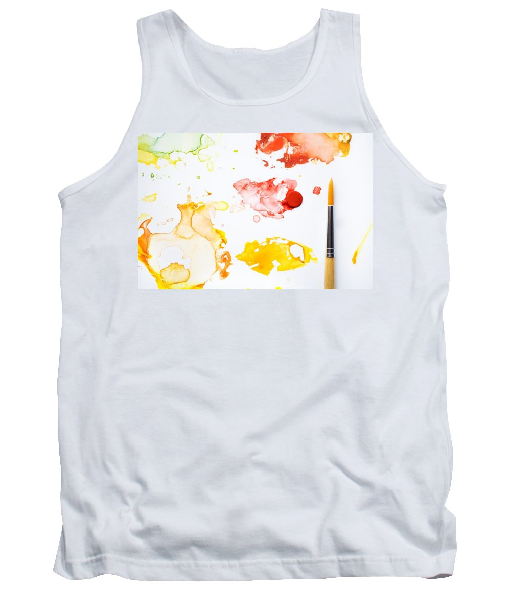 Art Tank Top featuring the photograph Paint Splatters And Paint Brush by Chris Knorr