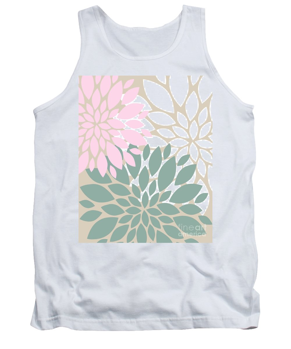 Pink Tank Top featuring the digital art Peony Flowers by Voros Edit