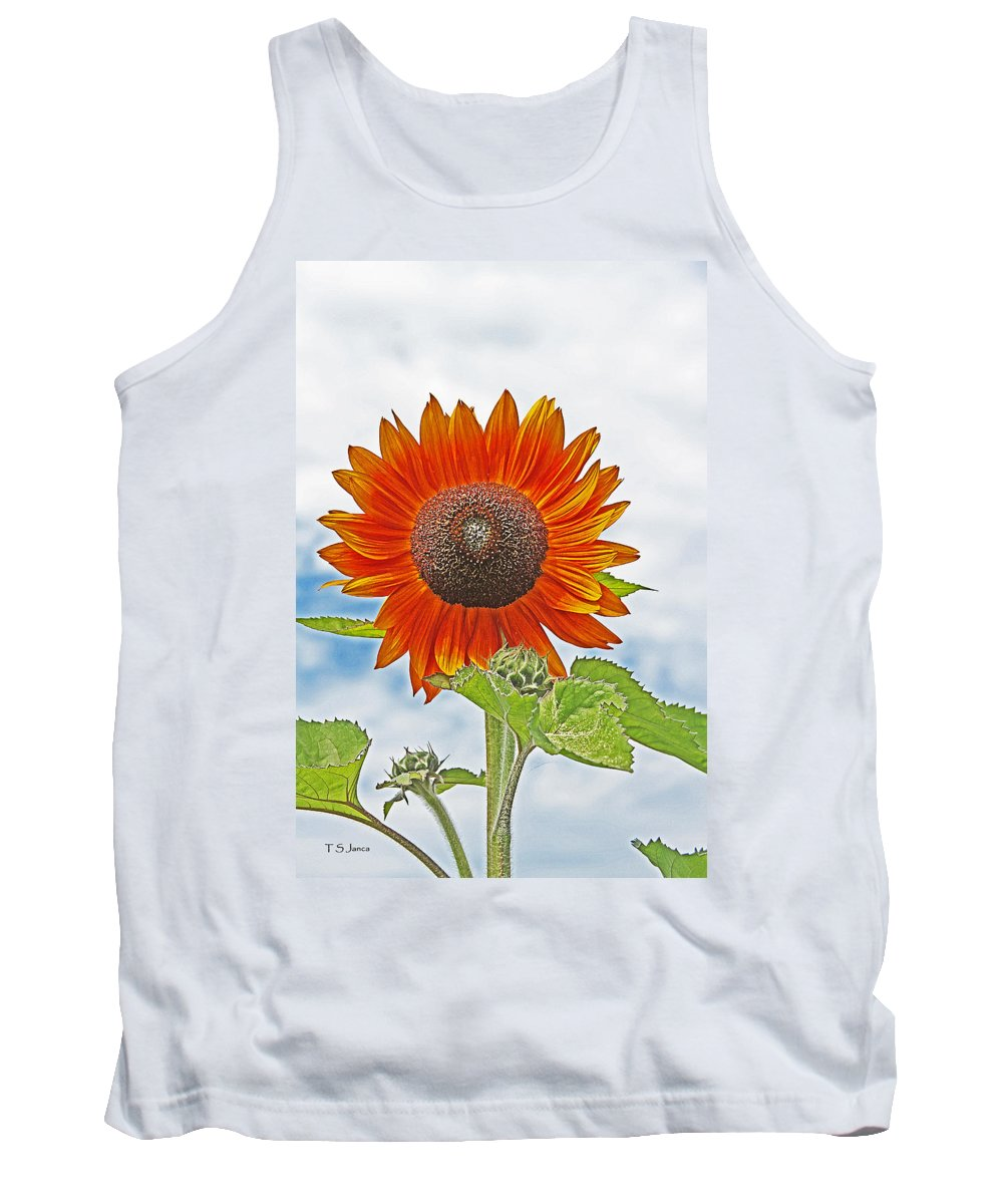 Red Face Sunflower At Olympia Tank Top featuring the photograph Red Face Sunflower At Olympia by Tom Janca