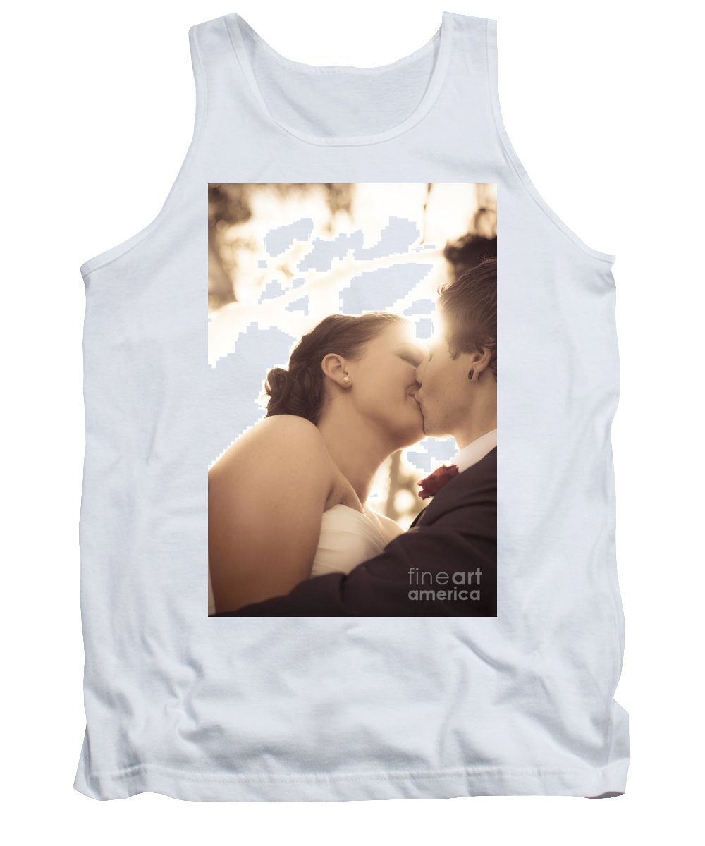 Caucasian Tank Top featuring the photograph Romantic Wedding Kiss by Jorgo Photography - Wall Art Gallery