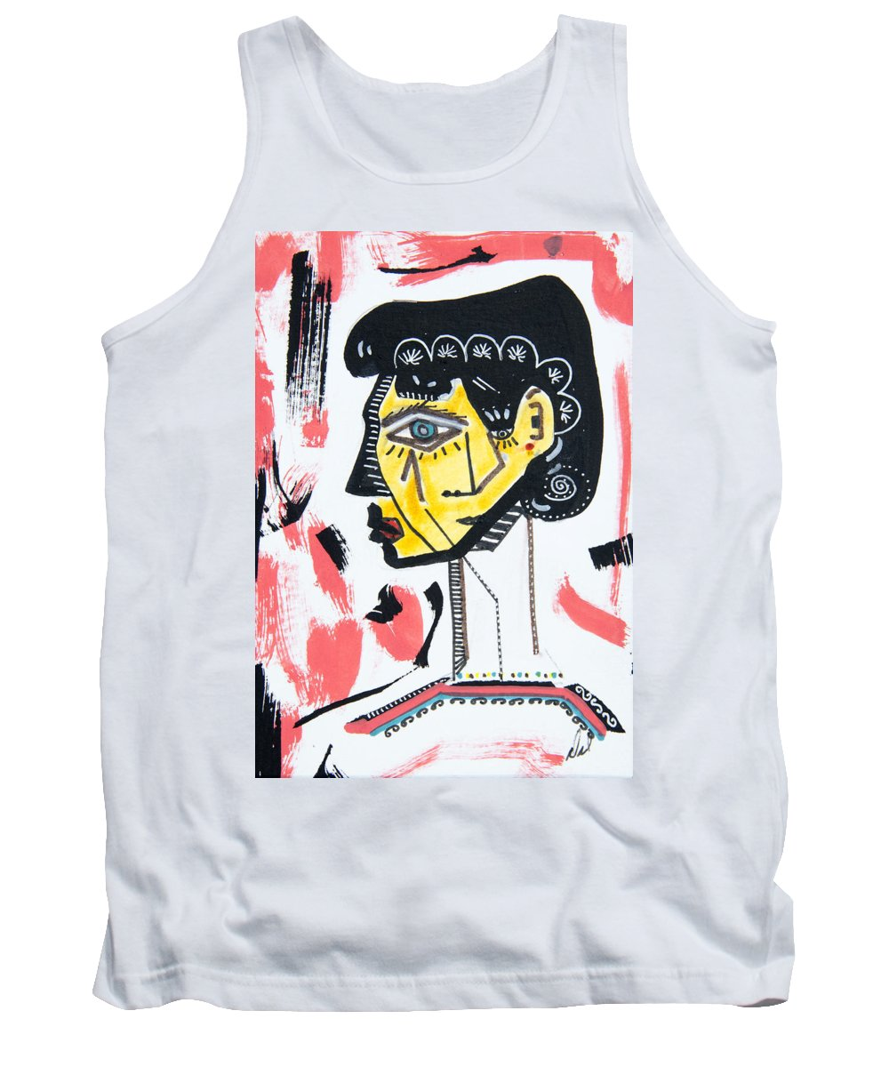 Portrait Tank Top featuring the drawing Rose by Dennis Davis