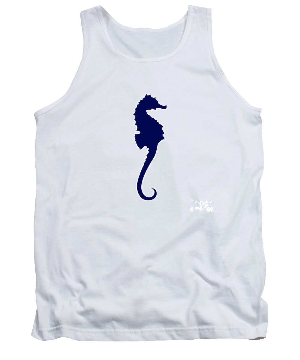 Graphic Art Tank Top featuring the digital art Seahorse In Navy And White by Jackie Farnsworth