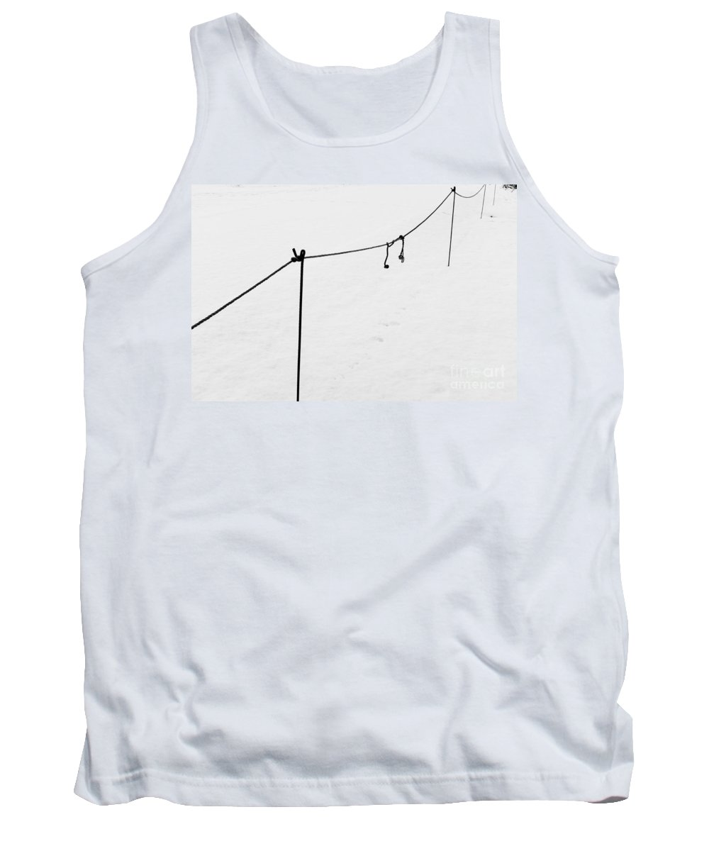 Fence Tank Top featuring the photograph Simple Snow Scene 2 by Paul Adams
