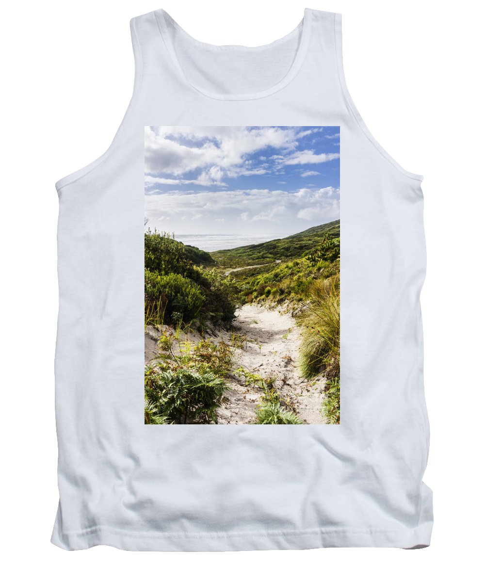 Coast Tank Top featuring the photograph Strahan Coast Landscape Winding To The Ocean by Jorgo Photography - Wall Art Gallery