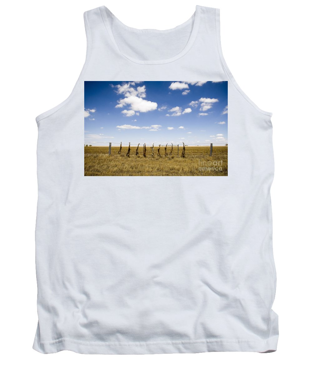 Agriculture Tank Top featuring the photograph Strung Up Foxes by Tim Hester
