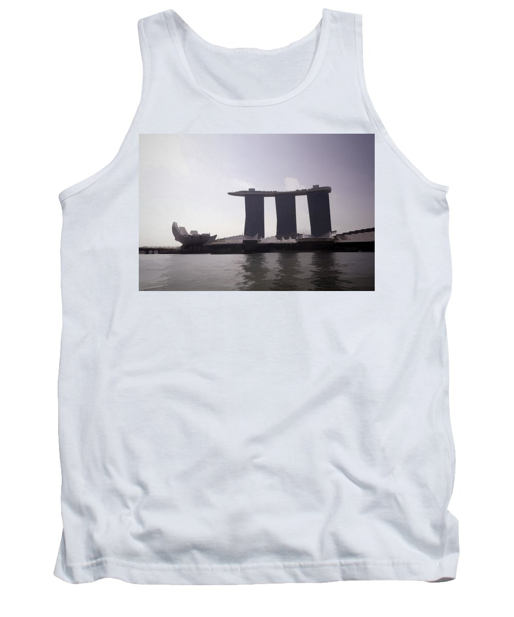 3 Towers Tank Top featuring the photograph The Artscience Musuem And The Marina Bay Sands Resort In Singapore by Ashish Agarwal