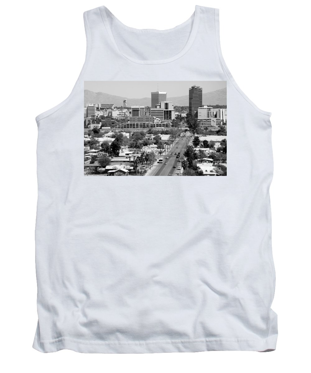 Black And White Tank Top featuring the photograph Tucson Az Skyline by Bill Cobb