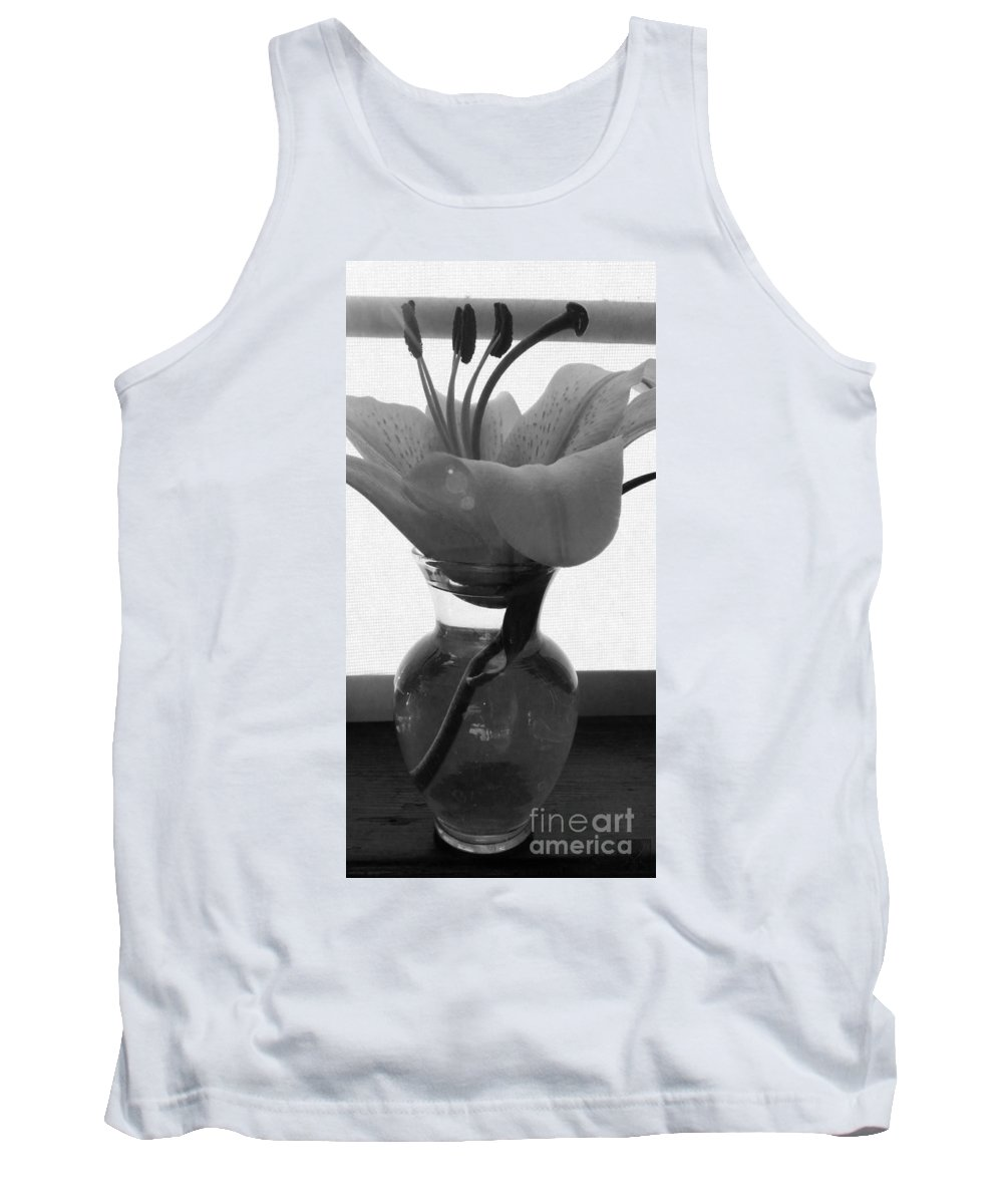 Lily Tank Top featuring the photograph 1 V Lily In Vase Bw by Dale Crum