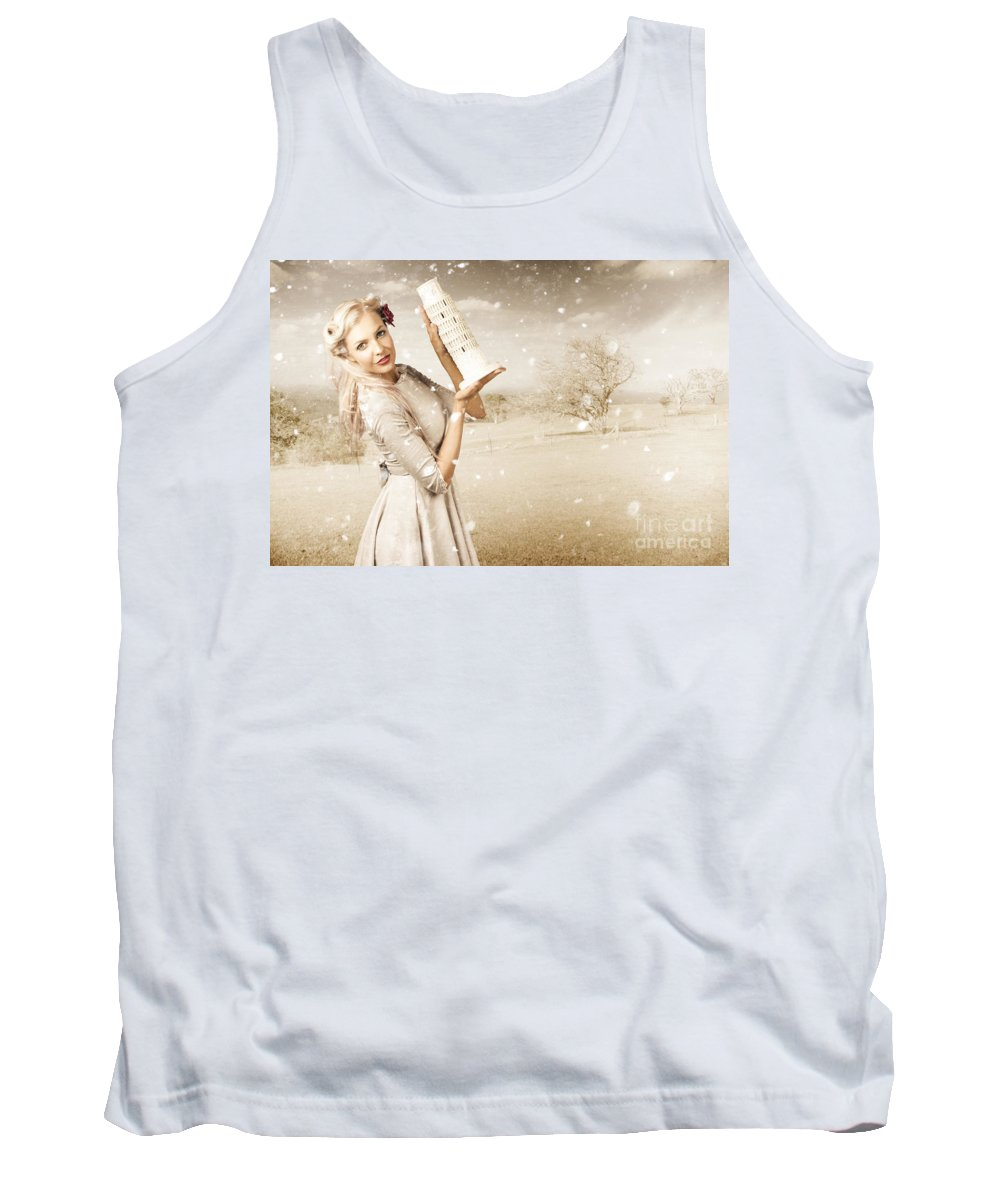 Aged Tank Top featuring the photograph Vintage Woman Dreaming Of A Europe Travel Escape by Jorgo Photography - Wall Art Gallery