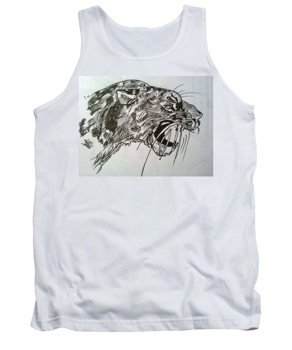 Pen On Paper Tank Top featuring the drawing Wild Cheetah by Poornima Ravi