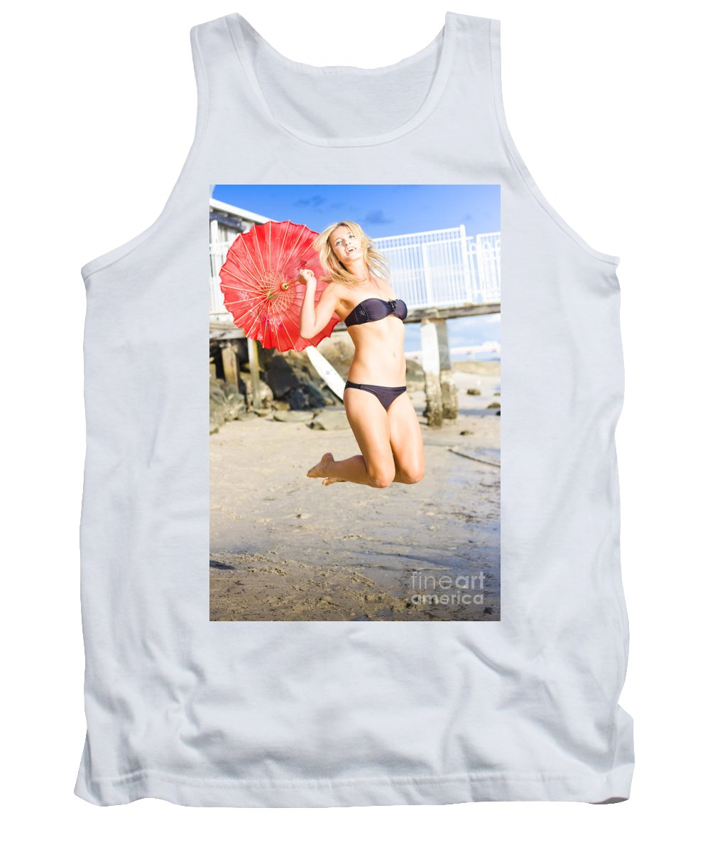 Adults Tank Top featuring the photograph Woman In Bikini Jumping by Jorgo Photography - Wall Art Gallery
