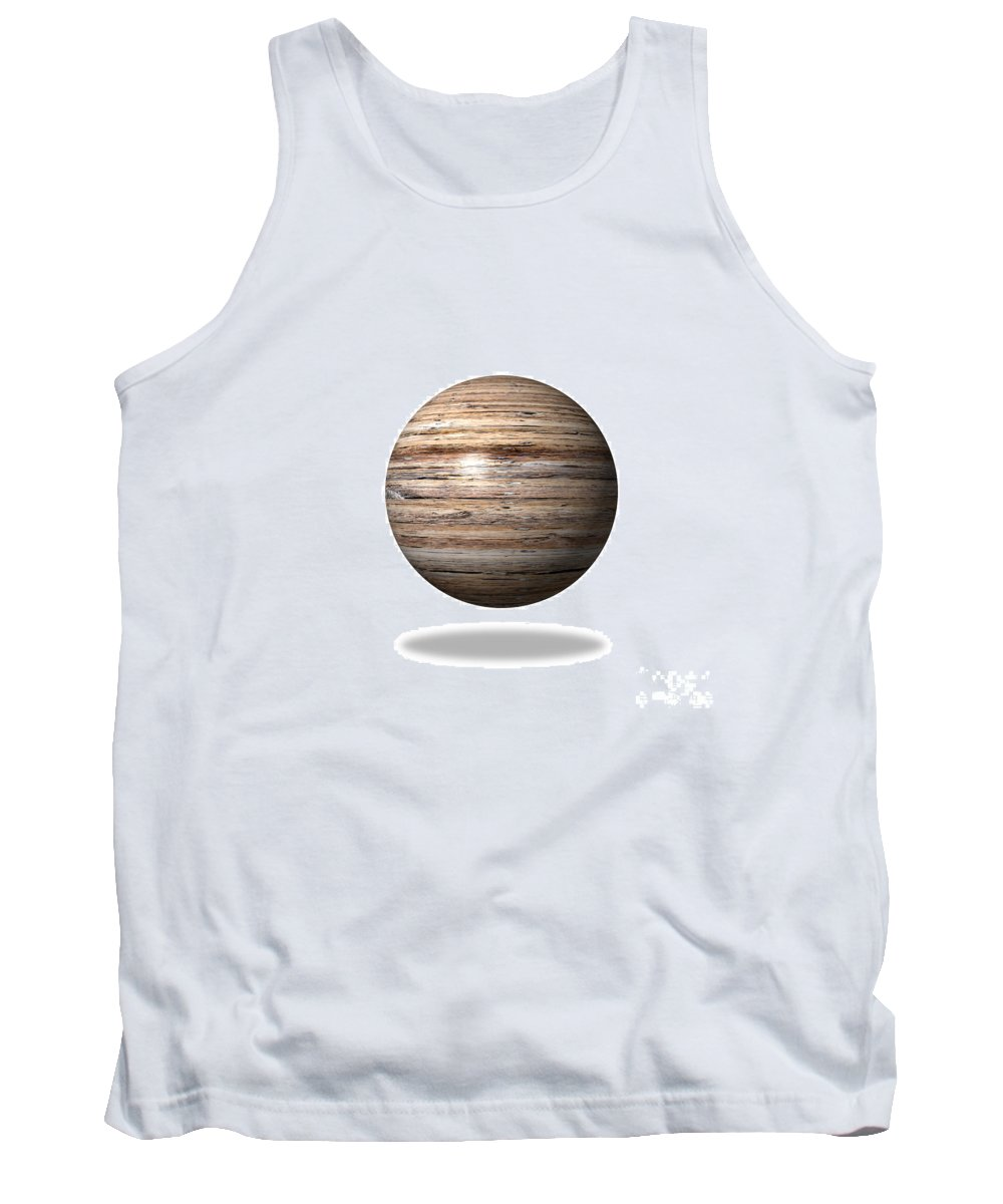 Wood Tank Top featuring the digital art Wooden Globe by Henrik Lehnerer