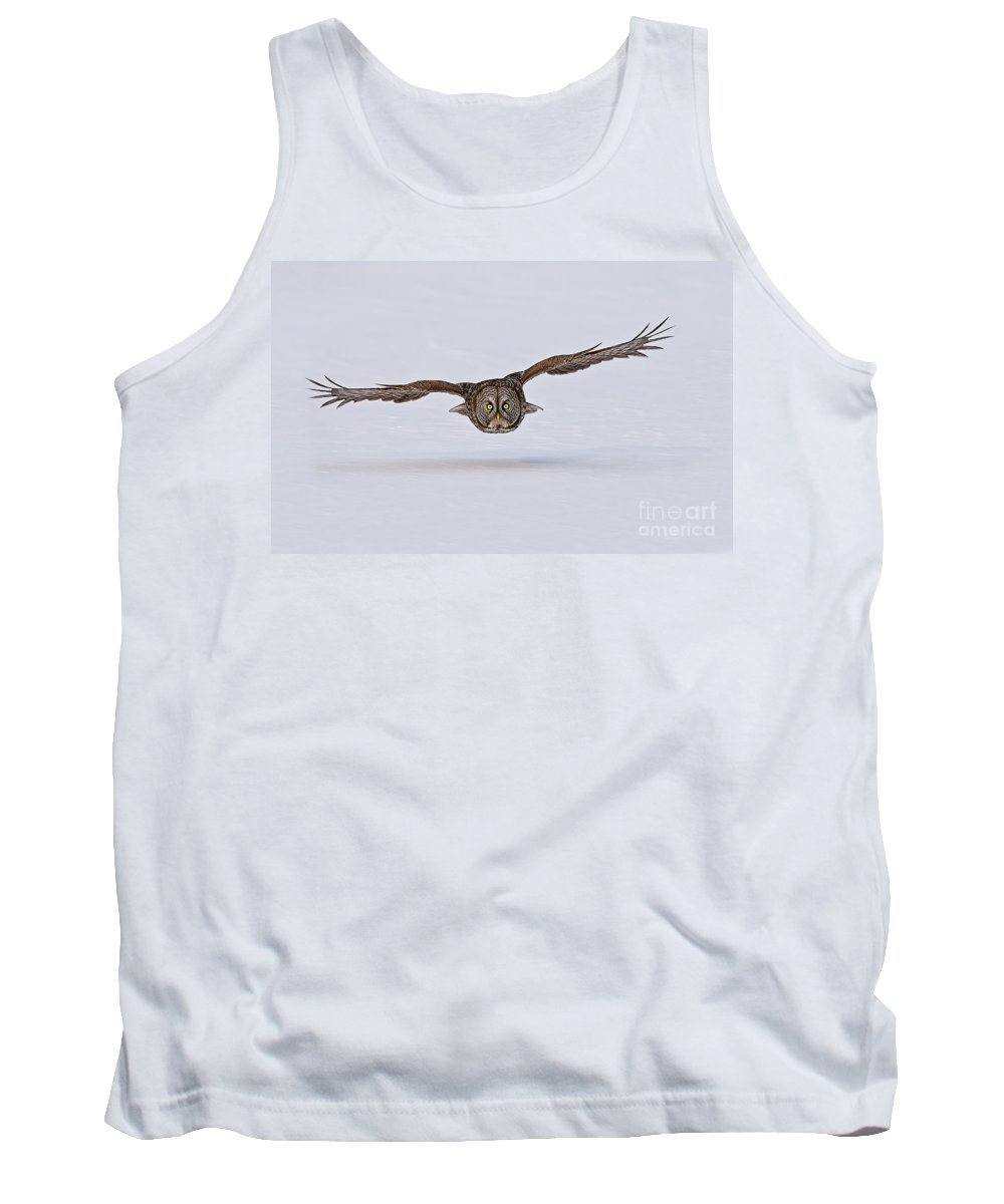 Michael Cummings Tank Top featuring the photograph Great Gray Owl by Michael Cummings