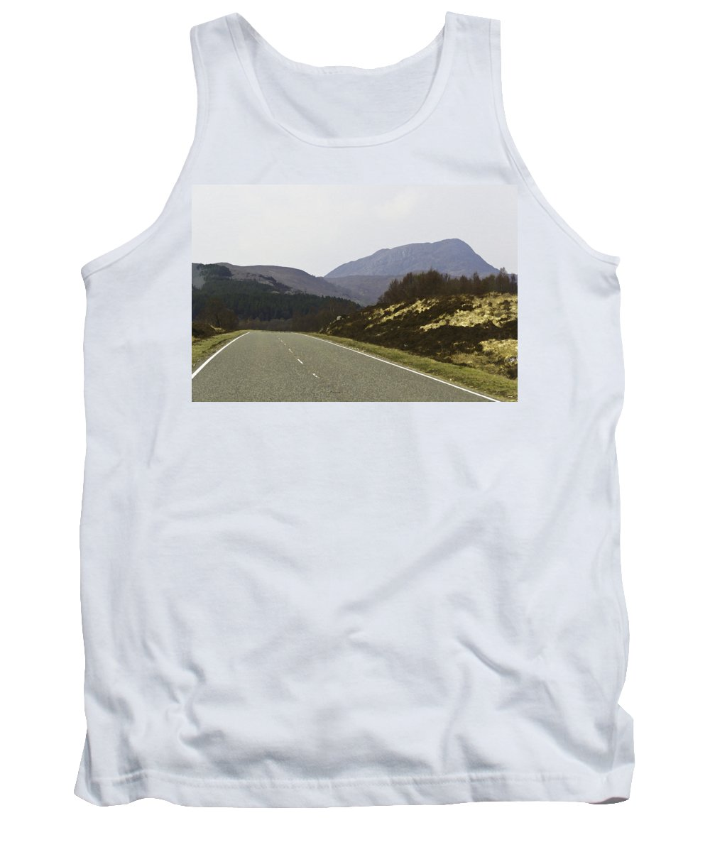 Canon Tank Top featuring the digital art Highway Running Through The Wilderness Of The Scottish Highlands by Ashish Agarwal