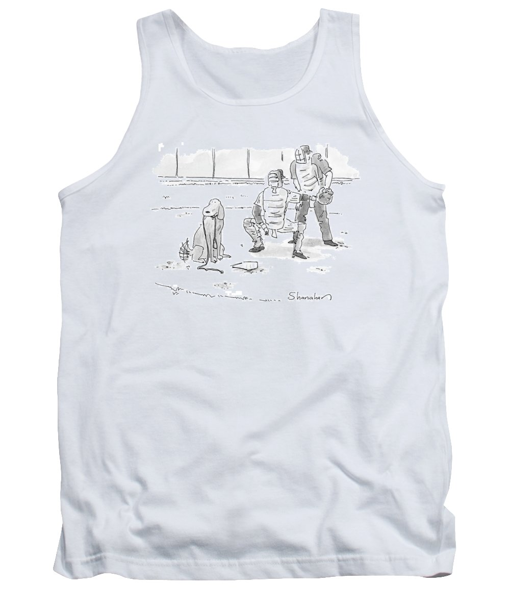 Sports Pets Dogs Baseball Homeplate Walk Tank Top featuring the drawing New Yorker October 10th, 2005 by Danny Shanahan