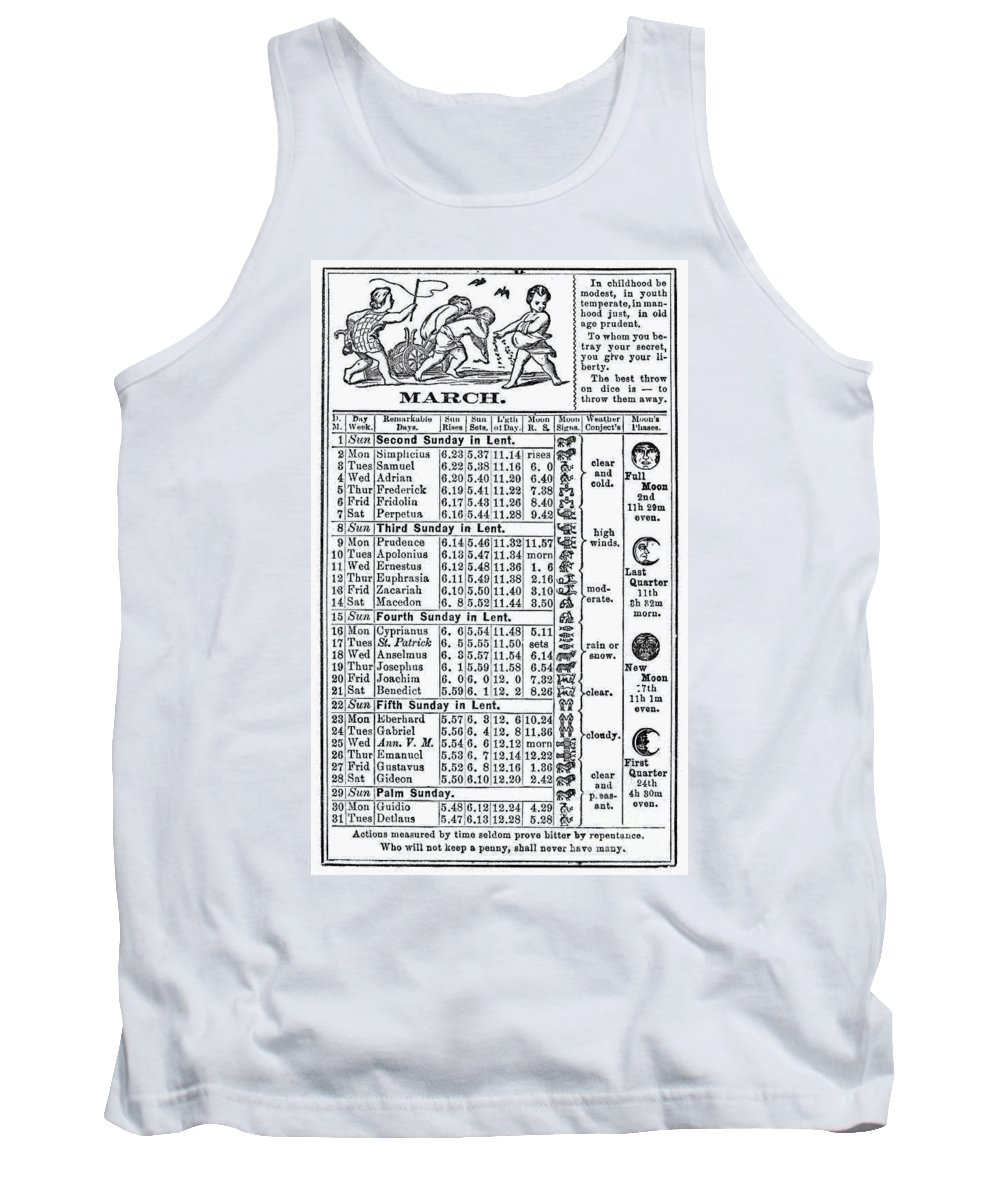 1874 Tank Top featuring the photograph Family Almanac, 1874 by Granger