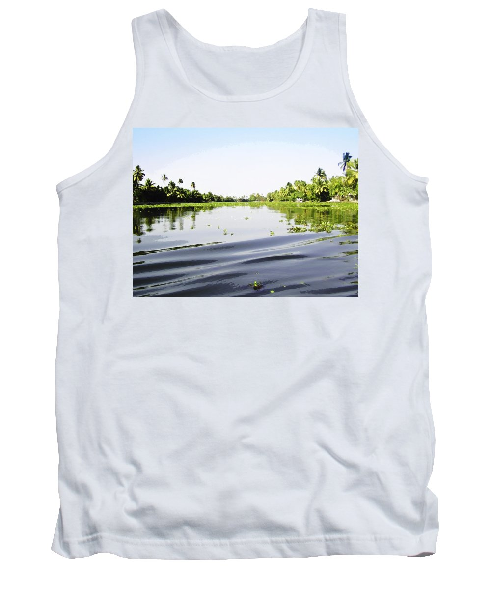 Alleppey Tank Top featuring the digital art Ripples On The Saltwater Lagoon by Ashish Agarwal