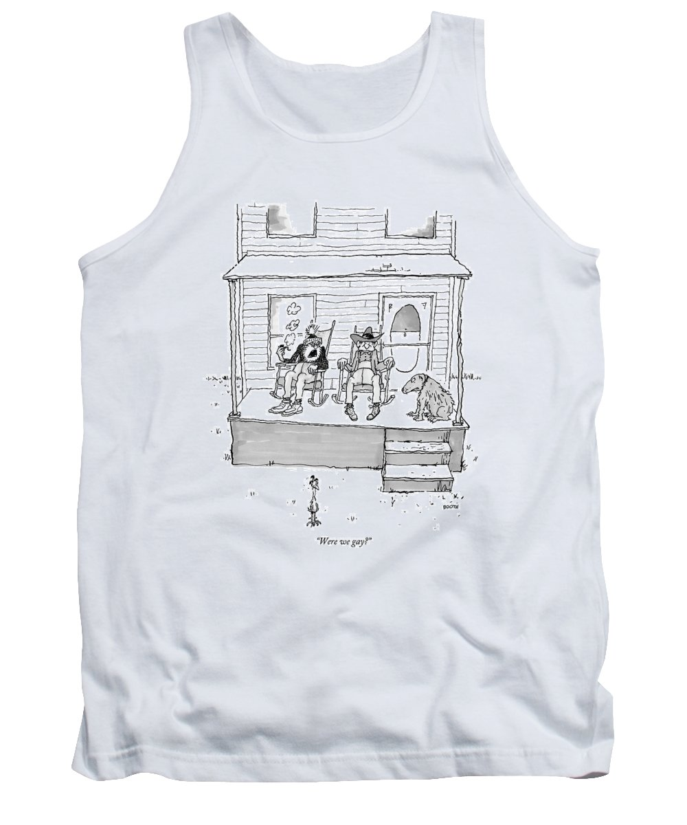 West Sex Entertainment Movies Western Gay Retire Retirement Confused Question Sexuality Discuss Ponder Dog Rocking Chair  (one Old Cowboy Talking To Another. ) 121814 Gbo George Booth Topbooth Tank Top featuring the drawing Were We Gay? by George Booth