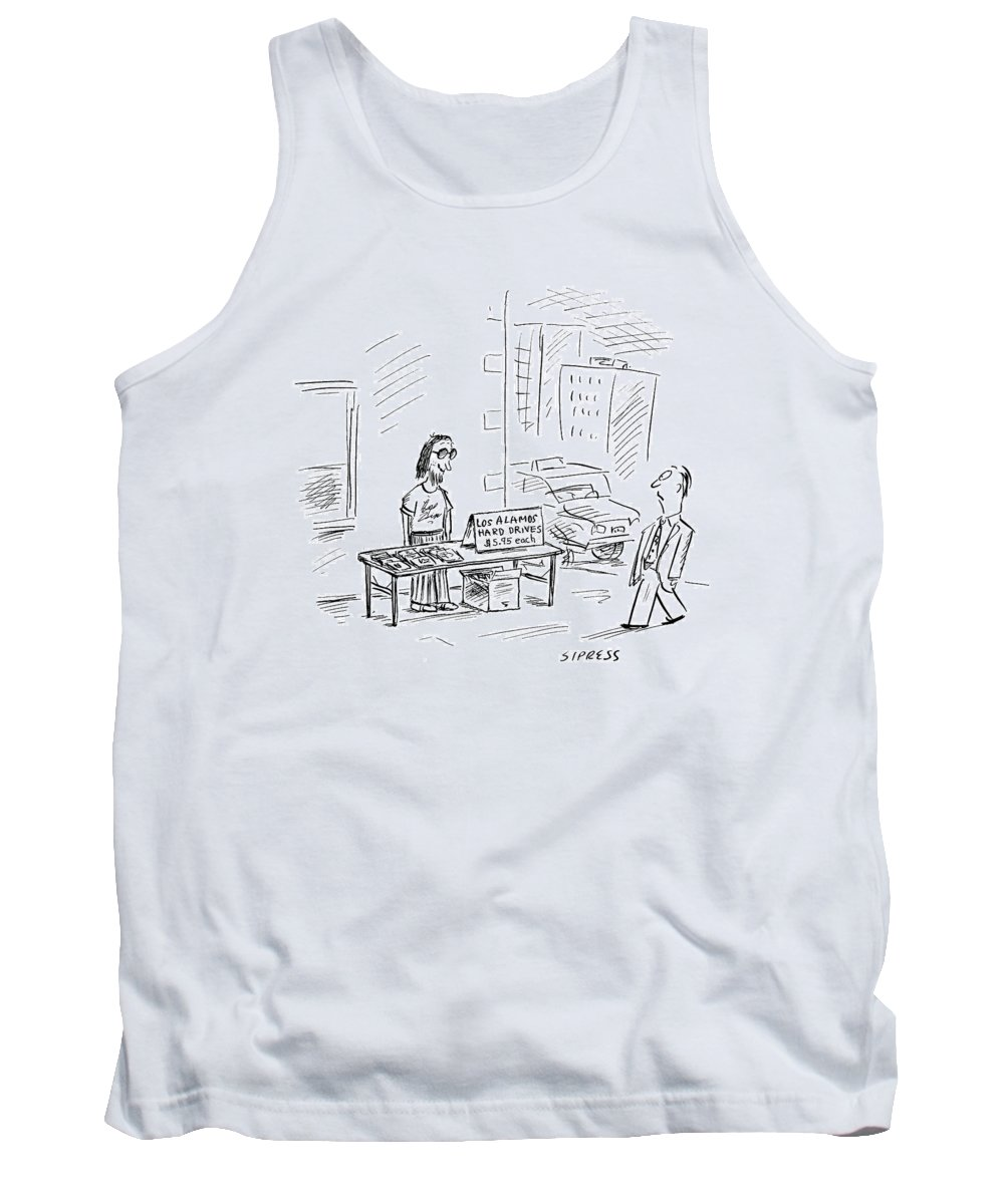 Los Alamos Tank Top featuring the drawing New Yorker July 3rd, 2000 by David Sipress