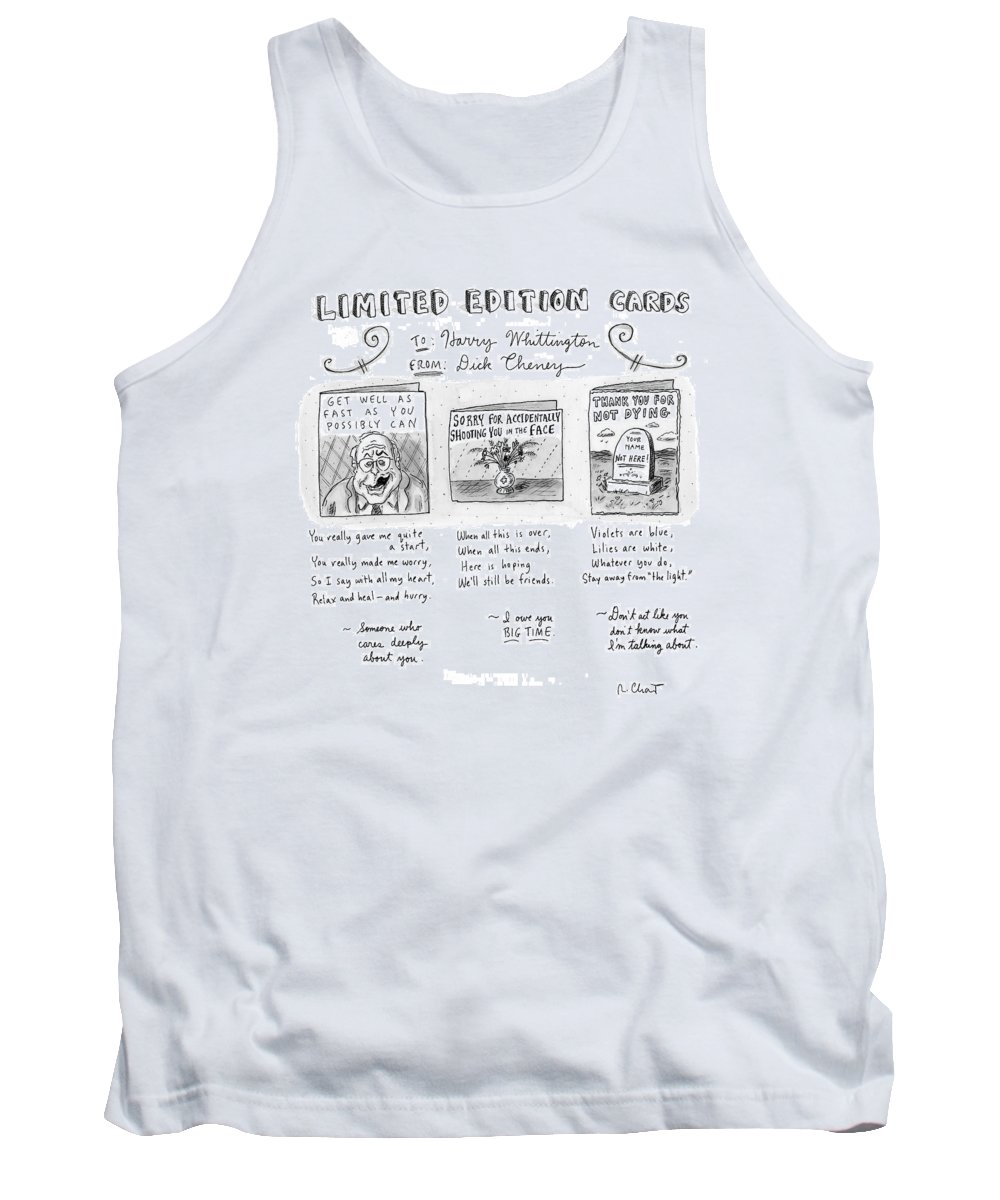 Guns Sports Hunting Incompetents Medical Government  Captionless Tank Top featuring the drawing Limited Edition Cards by Roz Chast