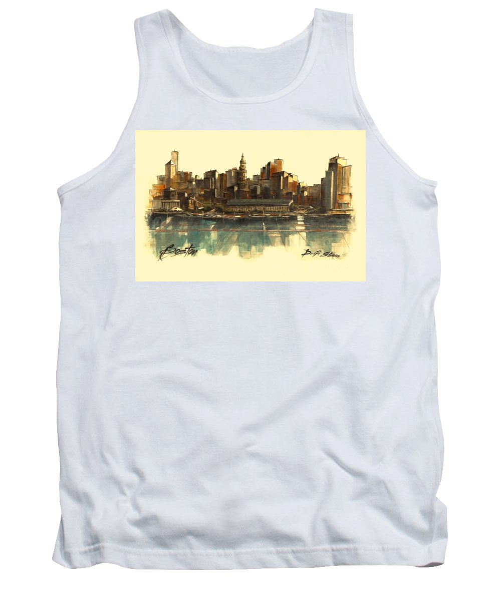 Fineartamerica.com Tank Top featuring the painting Boston Skyline by Diane Strain