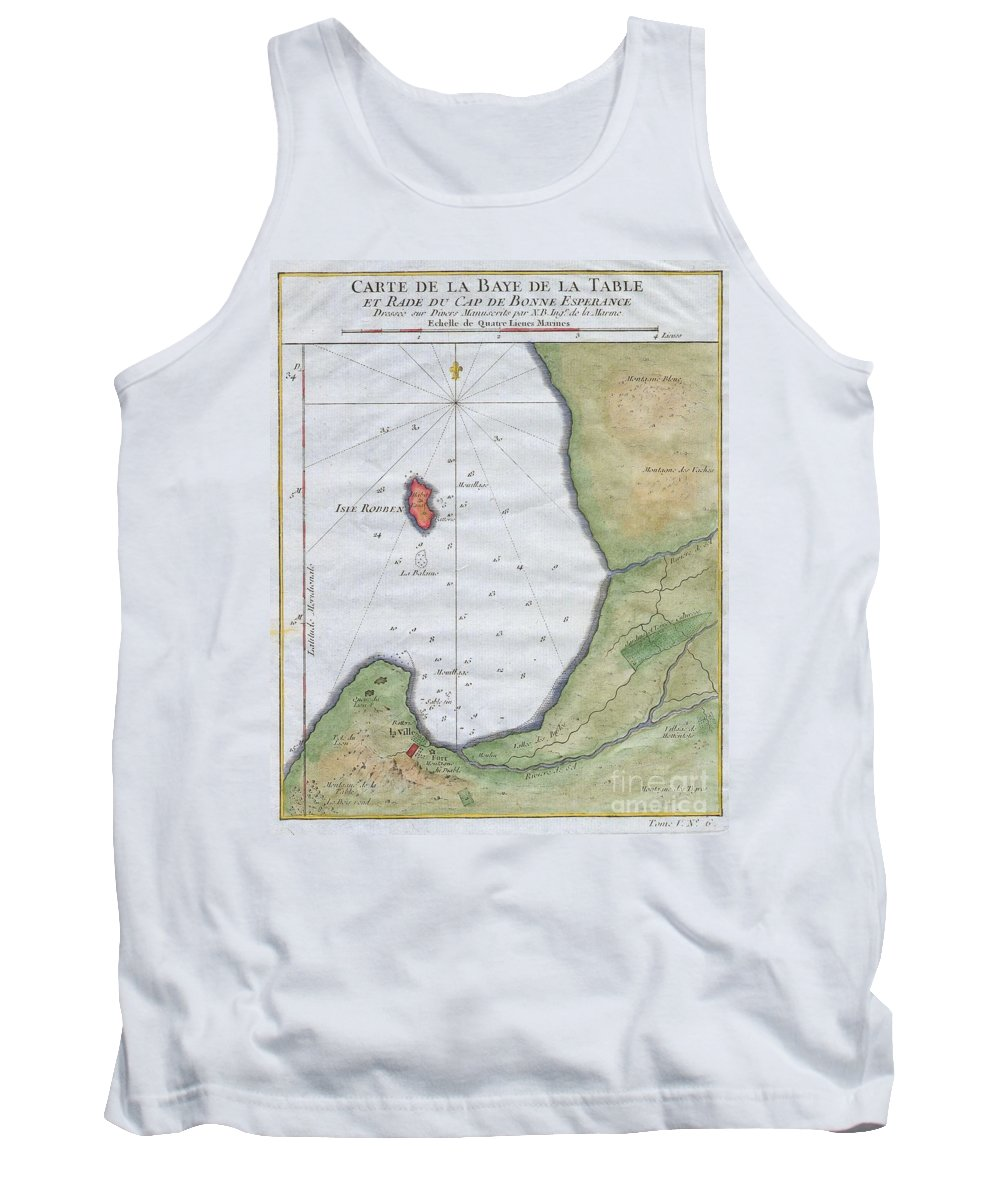 This Hand Colored Map Is A C. 1763 Map Of The Cape Of Good Hope And Cape Town Tank Top featuring the photograph 1763 Bellin Map Of Cape Town by Paul Fearn