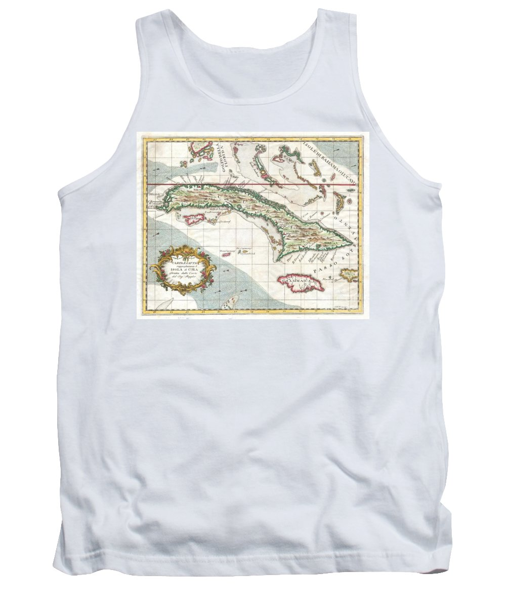 This Is A Beautiful Decorative 1763 Map Of Cuba And Jamaica By Italian Cartographer Giuseppe M. Terreni. Depicts The Island Of Cuba With The South Tip Of Florida Tank Top featuring the photograph 1763 Terreni Coltellini Map Of Cuba And Jamaica by Paul Fearn