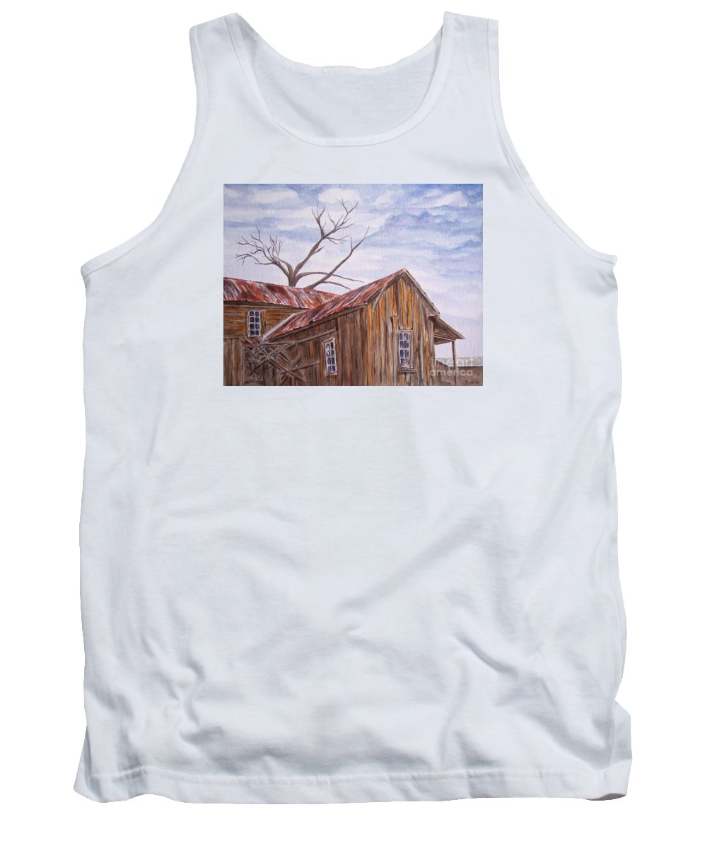 Old House Tank Top featuring the painting 1800's by Regan J Smith