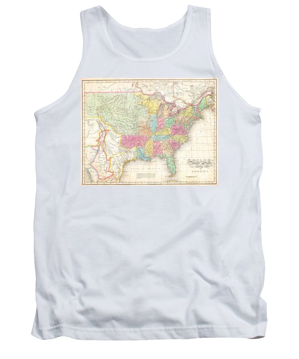 One Of The Most Important American Maps Of The United States To Appear In The Early 19th Century. Depicts The United States And Mexico Roughly From The Atlantic To The Region Immediately West Of The Rocky Mountains Tank Top featuring the photograph 1823 Melish Map Of The United States Of America by Paul Fearn