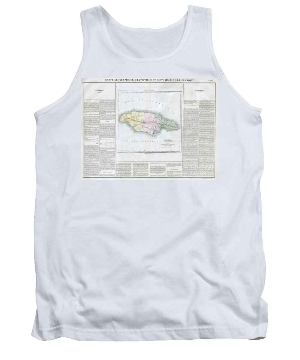This Is A Stunning 1825 Map Of Jamaica Tank Top featuring the photograph 1825 Carez Map Of Jamaica by Paul Fearn