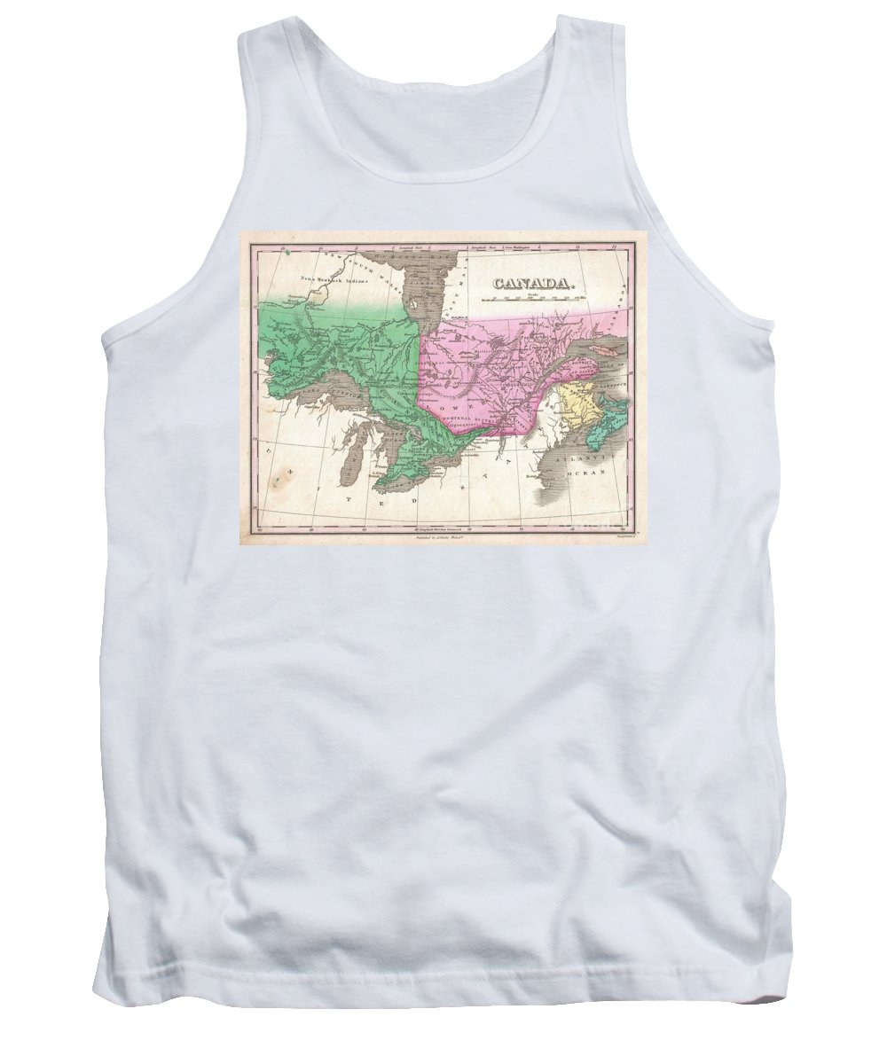 This Is Finley's Desirable 1827 Map Of Canada. Covers The Upper Canada (ontario) And Lower Canada (quebec) Tank Top featuring the photograph 1827 Finley Map Of Canada by Paul Fearn