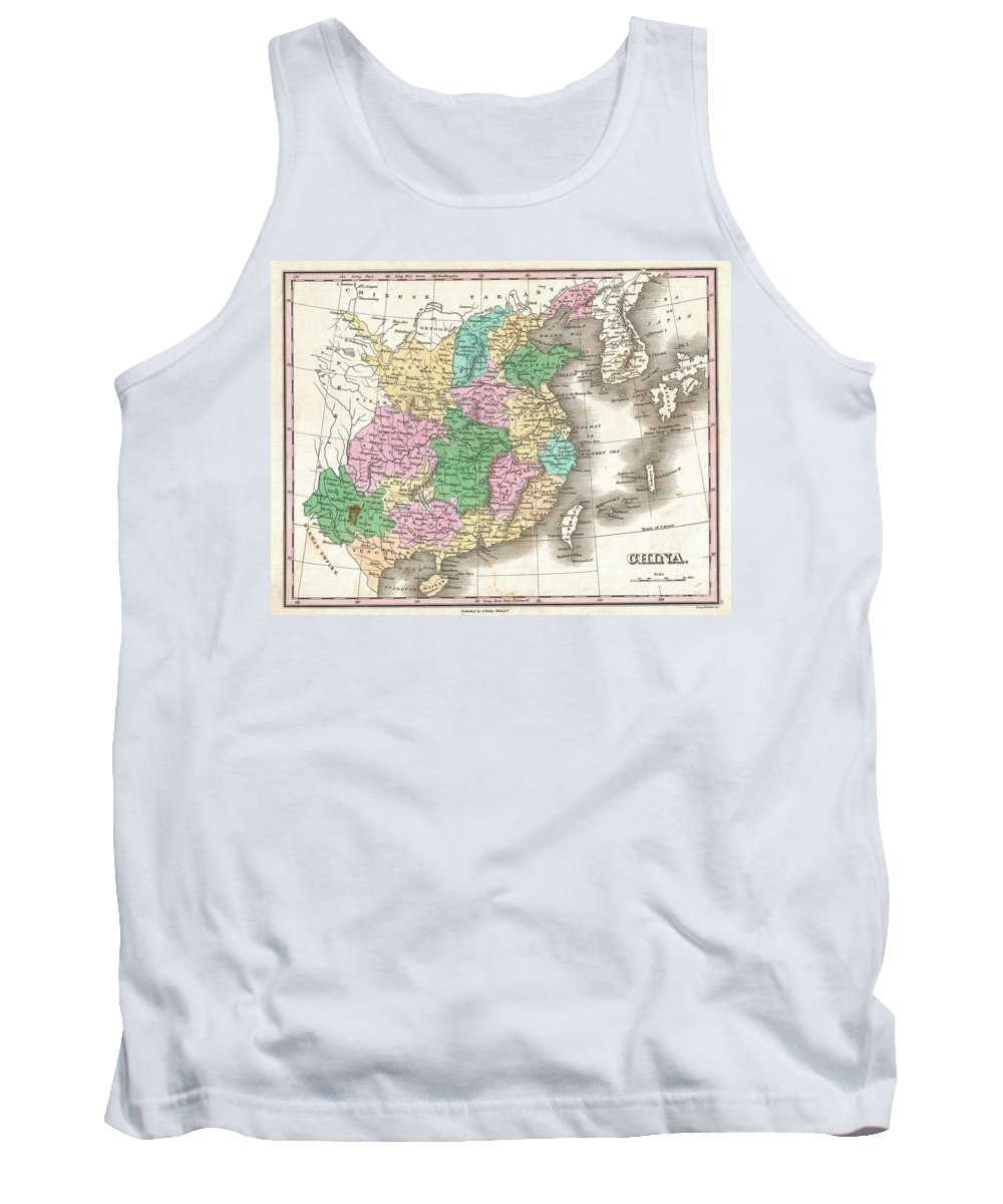 Beautiful Example Of Finley's Important 1827 Map Of China. Covers The Region From Chinese Tartary In The North To Hainan In The South. Includes The North Vietnamese Empire Of Tonkin (tungquin) Tank Top featuring the photograph 1827 Finley Map Of China by Paul Fearn