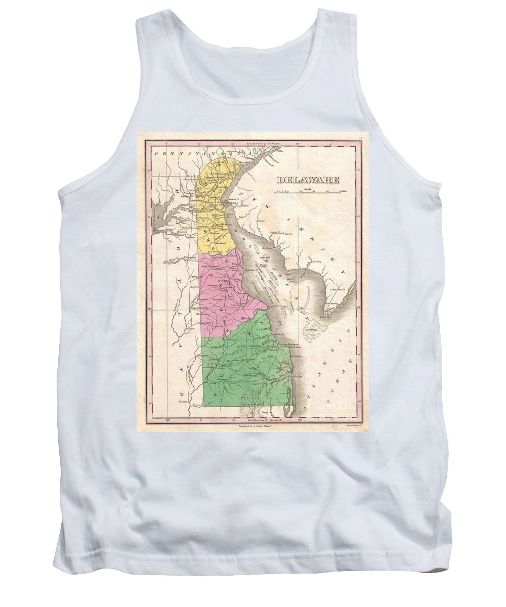 A Beautiful Example Of Finley's Important 1827 Map Of Delaware. This Rare Map Plate Configuration Depicts The State Individually Rather Than Bundled With Maryland - As Is More Common. Depicts The State With Moderate Detail In Finley's Classic Minimalist Style. Shows River Ways Tank Top featuring the photograph 1827 Finley Map Of Delaware by Paul Fearn