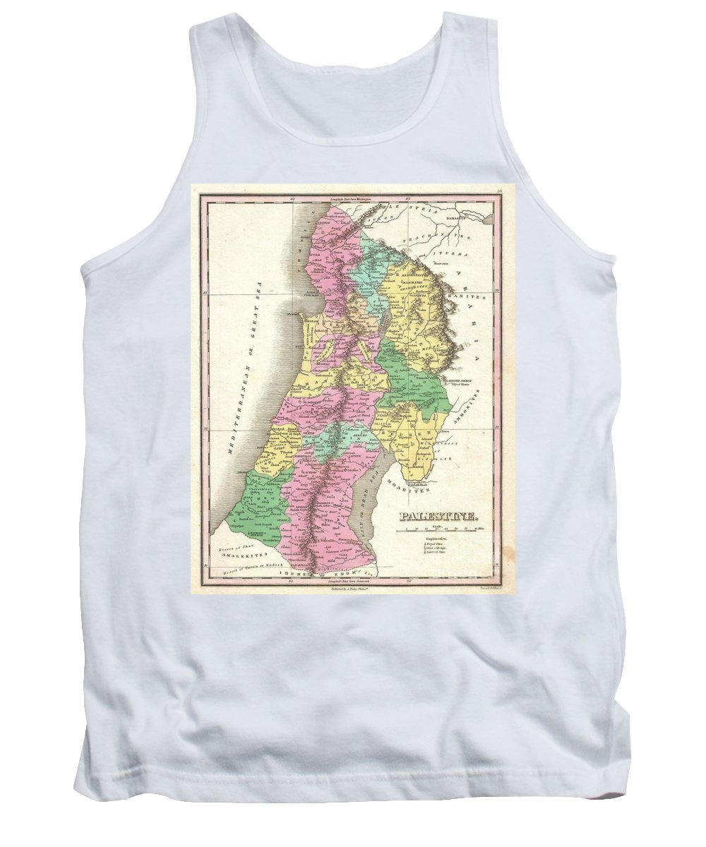 A Beautiful Example Of Finley's Important 1827 Map Of Palestine Tank Top featuring the photograph 1827 Finley Map Of Israel Palestine Holy Land by Paul Fearn
