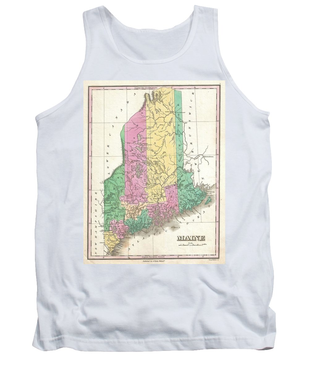 A Beautiful Example Of Finley's Important 1827 Map Of Maine And Possibly The Most Interesting Of The This Series. Shows Early County Configuration. Depicts The State With Moderate Detail In Finley's Classic Minimalist Style. Shows River Ways Tank Top featuring the photograph 1827 Finley Map Of Maine by Paul Fearn