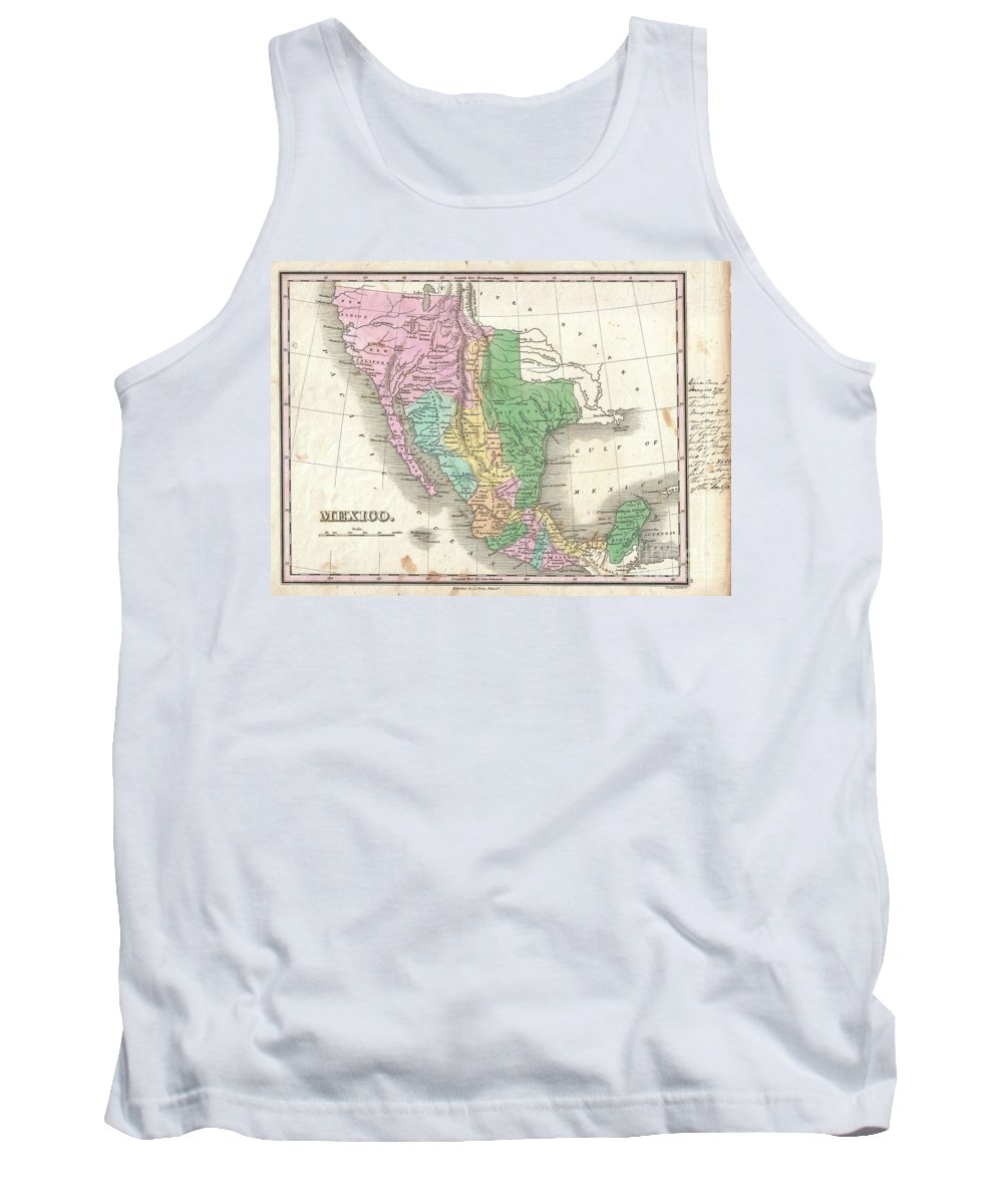 A Scarce And Important 1827 Map Of Mexico By Anthony Finley. Covers From Upper California And New Albion South To Guatemala Tank Top featuring the photograph 1827 Finley Map Of Mexico Upper California And Texas by Paul Fearn