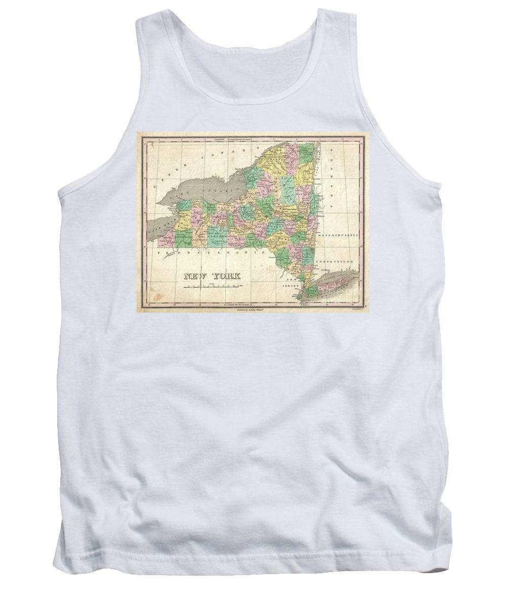 Beautiful Example Of Finley's Important 1827 Map Of New York. Includes Long Island And Lake Ontario. Depicts The State With Moderate Detail In Finley's Classic Minimalist Style. Shows River Ways Tank Top featuring the photograph 1827 Finley Map Of New York State by Paul Fearn