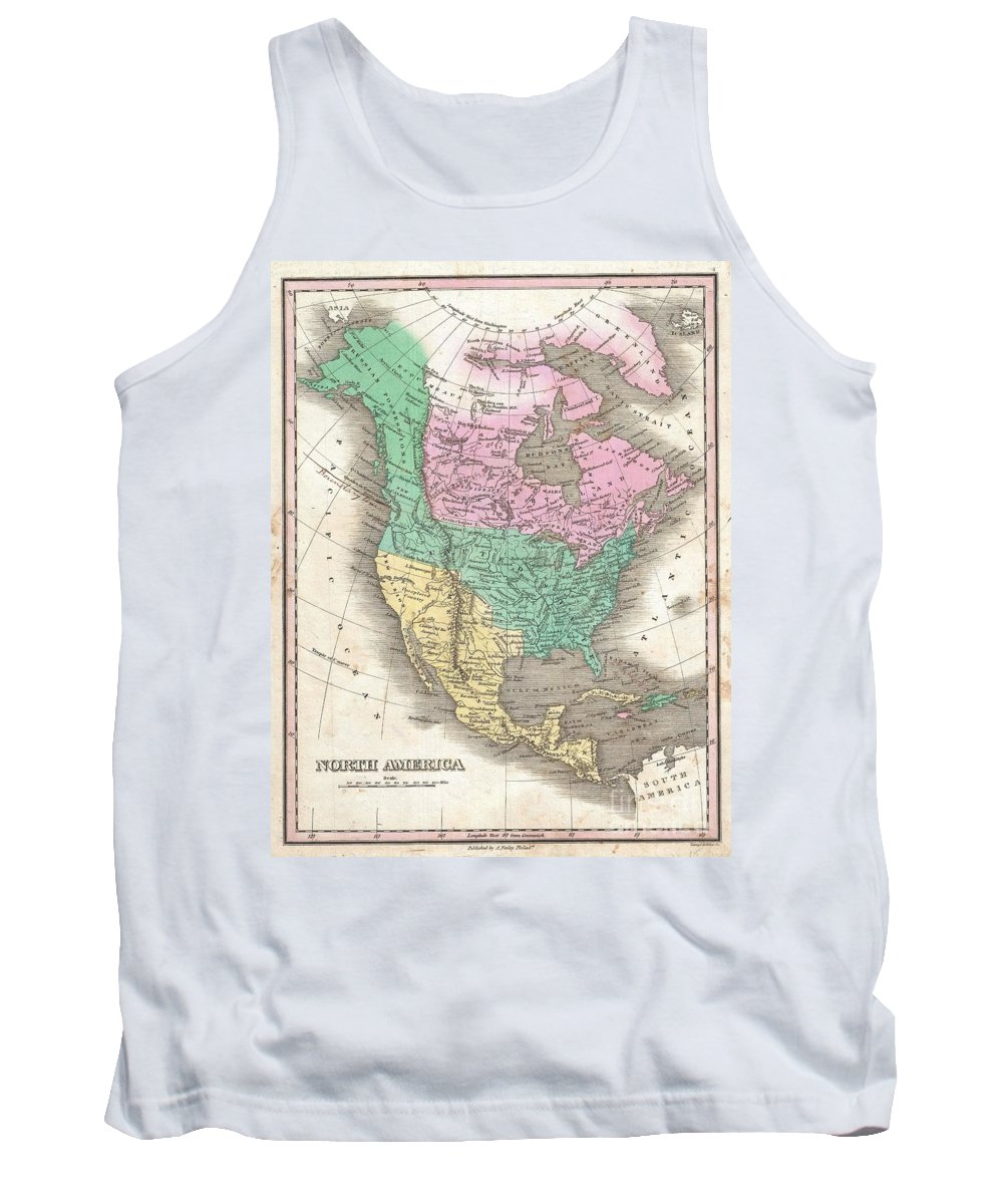 This Is Finley's Desirable 1827 Map Of The North America. Covers The Continent From Panama To The Arctic Circle Tank Top featuring the photograph 1827 Finley Map Of North America by Paul Fearn