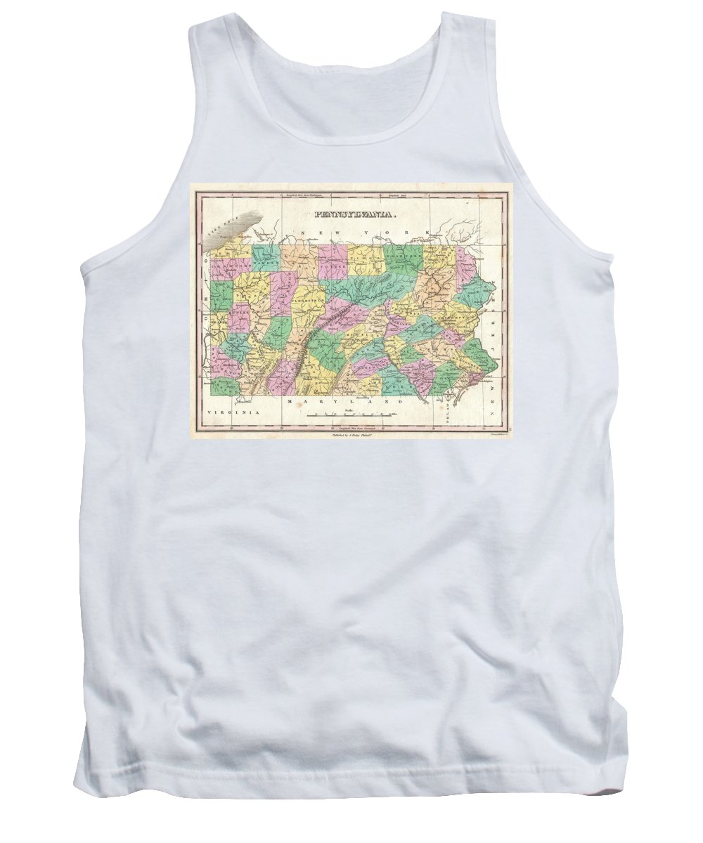 A Beautiful Example Of Finley's Important 1827 Map Of Pennsylvania. Depicts The State With Moderate Detail In Finley's Classic Minimalist Style. Shows River Ways Tank Top featuring the photograph 1827 Finley Map Of Pennsylvania by Paul Fearn