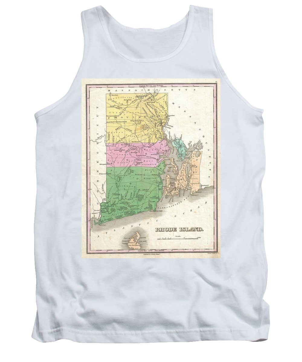 A Beautiful Example Of Finley's Important 1827 Map Of Rhode Island. Includes Block Island.  Depicts The State With Moderate Detail In Finley's Classic Minimalist Style. Shows River Ways Tank Top featuring the photograph 1827 Finley Map Of Rhode Island by Paul Fearn