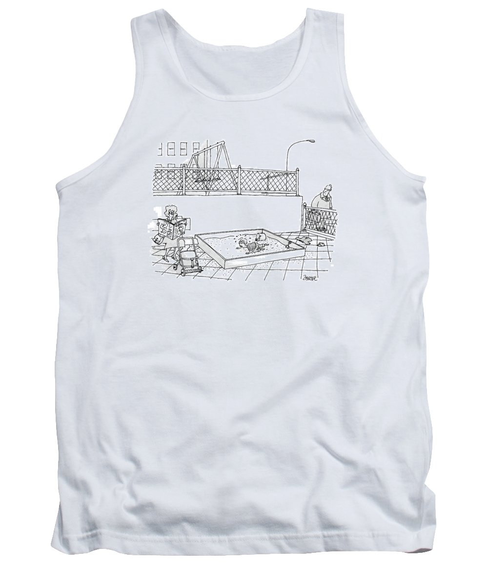 Sandboxes Tank Top featuring the drawing New Yorker May 8th, 2000 by Jack Ziegler
